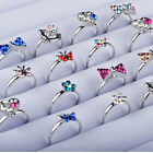 100pcs Adjustable Wholesale Mix Crystal Children Kids Silver Rings Tail Ring