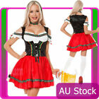 Ladies Oktoberfest Beer Maid Wench German Red Bavarian Heidi Fancy Dress Costume