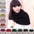 F 12 Colors Women Winter Warm 2 Circle Cable Knit Cowl Neck Long Scarf Shawl Hot