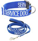 Color Coded Snap Buckle SERVICE DOG Blue Collar Leash Pets Set Short Long Nylon