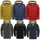 Fur Lined Hood Padded Winter Parka Coat  Mens Size