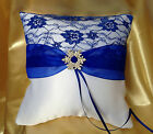HAND MADE WEDDING RING PILLOW/WHITE/IVORY&ROYAL BLUE&SNOWFLAKE/19x19cm/7.5x7.5''