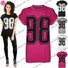 Womens Ladies 98 Printed USA Varsity Baggy Oversized Turn Up Sleeve Tee T Shirt