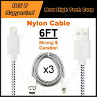 LOT 3x 6FT Braided Nylon Data Sync Charger USB Cable Fits iPhone SE 6S Plus 5S