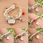Girl Anchor Leather Retro Pearl Band Analog Quartz Bracelet Vintage Wrist Watch