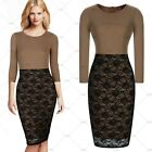 Women's Pinup Floral Lace Overlay Colorblock Bodycon Pencil Cocktail Party Dress
