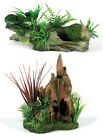 Driftwood with Artificial Plants Wood Stump Garden Aquarium Terrarium Ornament