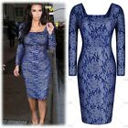 Women's Ladies Blue Lace Long Sleeves Evening Cocktail Wedding Bridemaid Dresses