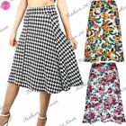 Womens Ladies Floral Summer Printed Flare Stretchy High Waisted Swing Midi Skirt