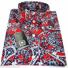 Relco Mens Red Navy Sky Paisley Long Sleeved Button Down Shirt Mod Skin 60s