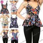 Womens Ladies Bralet Flared Wrap Over Cami Strappy Floral V Neck Peplum Top