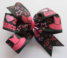 Love 2 Dance Ballet Hair Bows - Black & Pink Ballet Dance Clips Or Bobbles