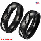 Couple 316L Stainless Steel Wedding Bands Promise Engagement Ring Black Size6-12
