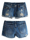 Women Trendy Blue Ripped Hole Mid-waist Jeans Shorts Pants Wash Denim Jeans Sexy