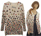 Butterfly Print Soft Knit Long Sleeve Quirky Cardigan Sweater 8 10 12 14