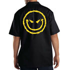 Dickies Black Mechanic Work Shirt Big Yellow Smiley Face
