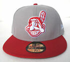 Cleveland Indians Grey On Red All Sizes Fitted Cap Hat by New Era