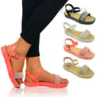 LADIES WOMENS FLAT PLATFORM JELLY ANKLE STRAP DIAMANTE PARTY SANDALS SIZE UK 3-8