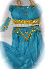 Princess Jasmine Aladdin Arabian Belly Dancer Harem Cosplay Blue Costume XS S M