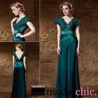 Green Satin Embroidered Evening Prom Bridesmaid Ball Wedding Gown Maxi Dress
