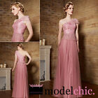 PInk One Shoulder Tulle Evening Prom Bridesmaid Ball Wedding Gown Maxi Dress