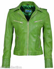 Candice Ladies Lime Green Biker Motorcycle Style Soft Real Nappa Leather Jacket