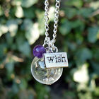 Dandelion seed necklace wish flower necklace choice of gemstone amethyst garnet