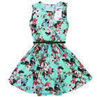 Girls Skater Dress Kids Floral Print Summer Party Dresses Outfit Age 7-13 Years