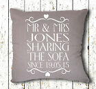 Handmade Personalised Sharing The Sofa Since Wedding Vinyl Printed Cushion Cover