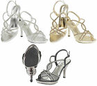 Womens Wedding Sandals Ladies High Heel Diamante Evening Prom Party Shoes Size