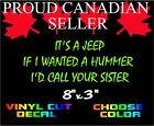 ITS A JEEP IF I WANTED A HUMMER CHOOSE COLOR FUNNY BUMPER STICKER MUDDING 4WHEEL
