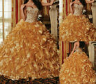 Gold Sweetheart Bead Formal Gown Ruffles Prom Pageant Quinceanera Dresses SZ2-14