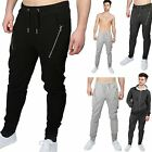 Mens Branded Slim Fit Gym Joggers Double Zip Bottoms Stretchy Trousers Pants