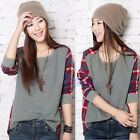 Hot Cool Women T-shirt Loose Long Sleeve Round Neck Plaid Casual Blouse Tops