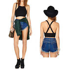 Women Sexy Sleeveless O Neck Backless Vest Slim Short T-Shirt Crop Top