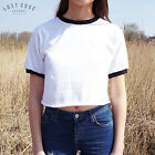 * Plain Crop Ringer Tee T-shirt Top Festival Grunge American Cropped *