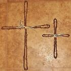 Barbed Wire Loop Cross 18 x 13 and 12 x 7in. rustic wall hanging antique wire