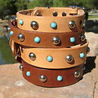 TAN or BROWN 1 or¾ inch Solid Leather Pet Dog Collar Rhinestones studs turquoise