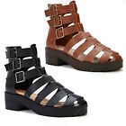 NEW WOMENS LADIES DESIGNER BUCKLES LOW HEEL GLADIATOR SANDALS SHOES SIZE 4 5 6 7