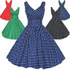 Maggie Tang 50s Pinup Retro VTG Polka Dots Housewife Rockabilly Swing Dress K514