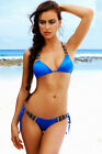 Lazy Girls Club Sexy Blue Beaded Triangle Padded Bikini  New for 2015 S-M-L