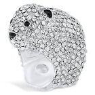 "Genuine Princess Amanda ""Snow Bear"" Crystal and Black Enamel Ring HSN"