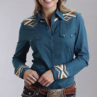 Stetson Women's Jewel Green Long Sleeve Lawn Western Shirt 11-050-0565-0674 GR