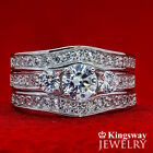 ENGAGEMENT WEDDING RINGS SET 3 piece 925 Sterling Silver Simulated Diamond Rings