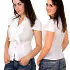 Short Sleeve Ruffles Front V Neck  Blouse  White- Shirt- S M L XL
