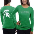 Michigan State Spartans Women's Green Finish Line Slim Fit Long Sleeve T-Shirt