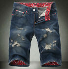 Fashion Mens Washed Denim Casual Shorts Casual Ripped Jeans Plus Size