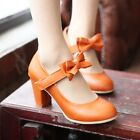 New Womens Girls Round Toe Bowknot Mid Heel Casual Dating Mary Janes Shoes Sz