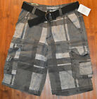 Men's Rue 21 Carbon Gray Plaid Classic Length Cargo Shorts & Belt Sizes 26, 34