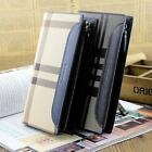 Men's Leather business Clutch purse Handbag Checkbook Organizer Zipper Wallet  Q